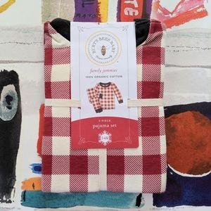 NEW Burts Bees Red Buffalo Plaid Infant Pajama Set